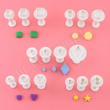 Kitchen Cooking Baking Mold Tool Various Mini Square&Star&Round&Diamond&Heart Shape Plunger Fondant Sugarcraft Cake Cutter Mold