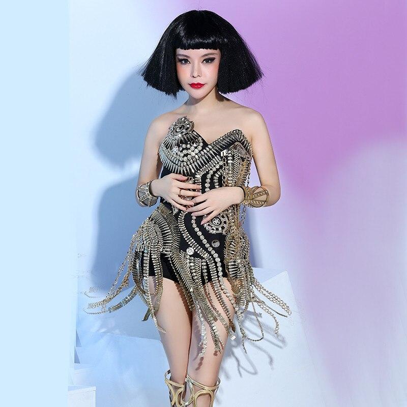 Nightclub female singer dj white punk ds rivet costume three-piece stage costume14