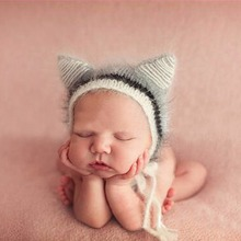 Puseky 2017 Newborn Mohair Ear Hat Newborn Photography Props Cap Gorro Baby Handmade Knit Soft Mohair Hats Bonnet 0-6M(China)