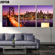 3 Piece City Night Skyline Paintings San Francisco Canvas Print Bay Bridge Sunset California Wall Pictures Home Decor No Frame(China)