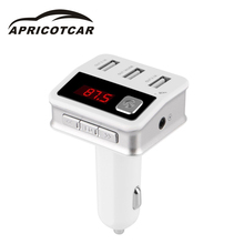 New Car Kit AUX Handsfree Wireless Bluetooth FM Transmitter Mp3 Player Car with LCD 3USB Car Charger Navigation Broadcast BC12