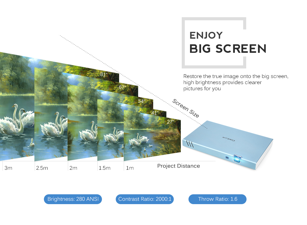 COOLUX X6S Portable Smart Projector 280 ANSI 1280 x 720P Support 1080P
