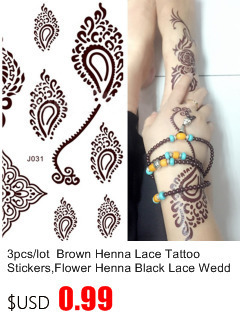 50pcs/lot Black Arabic Tattoos Women Arm Designs,Beautiful Flower Butterfly Waterproof Fake Temporary Tattoo Stickers Wholesale 7