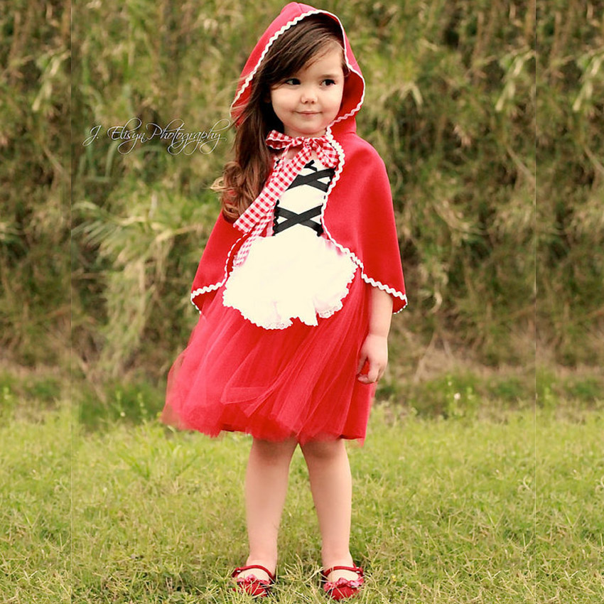 girl Baby Little Red Riding Hood dresses princess halloween costume DS children clothing vetement enfant fille dress with capa<br>