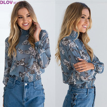 Print Feminino New Turtleneck Tops Casual Sexy Women Clothing blusas 2017 Summer Casual All Match Button Full Sleeve TS105(China)