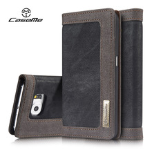 For Samsung Galaxy S6 Case edge Luxury Wallet Leather Cover Flip Full Phone Protective Black Brown Cases for Samsung S6 Coque