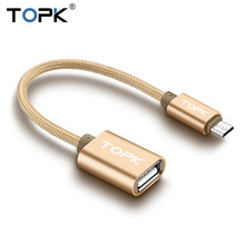 TOPK Micro USB OTG Cable USB 2.0 OTG Adapter Converter for Samsung Xiaomi LG Sony TCL Htc Huawei Android mobile phone(China)