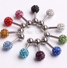 Stainless Steel Screw CZ Gem Disco Ball Barbell Ear Piercing Studs Earrings Girl Earring Body Jewelry