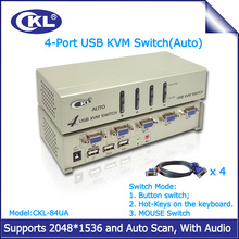 CKL 4 Port USB VGA KVM Switch Support Audio and Auto Scan with Cables, KVM Switcher for Keyboard Video Mouse CKL-84UA