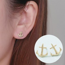 Shuangshuo Summer Style Vintage Earrings Small Anchors Stud Earrings for Women Tiny Earrings Fashion Jewelry boucle d'oreille(China)