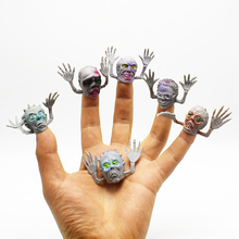 New Arrival 6Pcs/lot Novelty PVC Gray Ghost Finger Puppet For Telling Stories Halloween Funny Toy Action Figure Toy