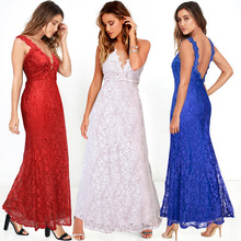 2016 Women's Boutique Dress Europe Big Yards Hollow Lace Crochet Perspective Irregular Harness Dress(China)