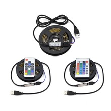 USB Cable Power RGB LED Strip Light 50cm 1m 2m 3m 4m 5m SMD 5050 (Black PCB) Waterproof Flexible Rope Decoration Light For TV