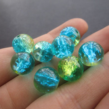 20Pcs/Lot 8mm 10mm Glass Beads Crack Beads Double Colored Green Blue Color for jewelry making(China)