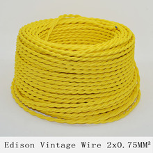 2*0.75mm2 Edison Vintage Lamp Cord Twisted Textile Wire Yellow Knitted Cloth Retro Electrical Wire Pendant Light Lamps Cable 10M