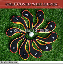 Free Shipping 10 Pcs/bag Golf Club Iron Covers Headcovers Neoprene Protector For Golf Sport, Black and yellow