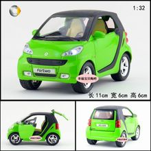 2016 new color fast ship 1:32 Pull Back Acousto-optic Toys Classic Alloy Antique Car Model for fartwo smart with light &sound