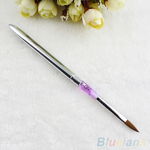 Size 8 Acrylic Brush Sable Pink Mable Detachable Acrylic Nail Art Builder Pen 1QFB 2UN1(China (Mainland))