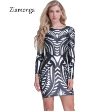 Ziamonga 2017 Latest Trends Fashion Digital Printing Dress Office Dress Online Shopping India Dresses Autumn Winter Women Dress