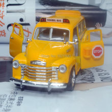Brand New KT 1/36 Scale USA Chevrolet School Bus Diecast Metal Pull Back Car Model Toy For Gift/Collection/Children