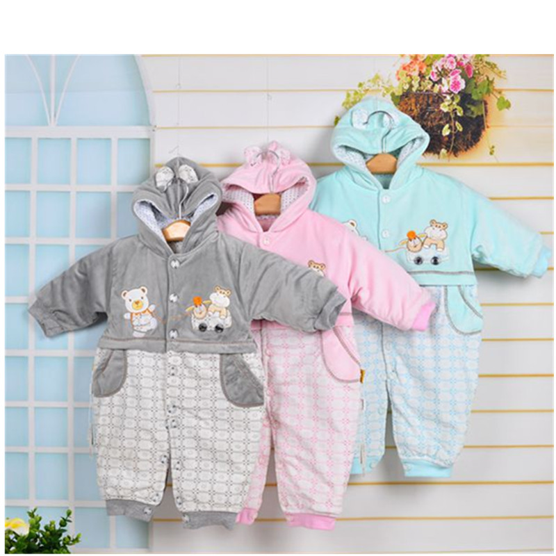 2016 Unisex Cute Bear Baby Rompers autumn Winter Thicken Baby Clothing 3 Colors for NewBorn Baby girls boys Romper<br><br>Aliexpress