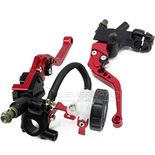 "Universal CNC 7/8"" 22mm Red Motorcycle Brake Clutch Levers Master Cylinder Reservoir Set For Honda Suzuki Kawasaki Yamaha D10"