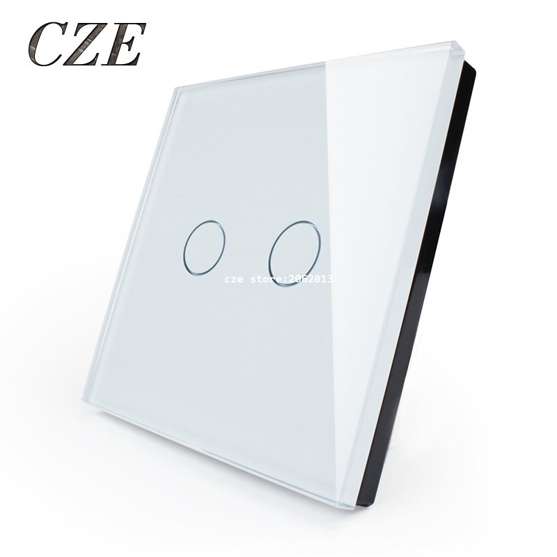 EU Standard 2 Gang 1 Way Relay Touch Switch Round Type Crystal Glass Panel Wall Light Switches Smart Home Automation Round Type<br><br>Aliexpress