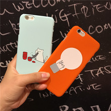 Lovely Cute Cat Noodle Light Bulb Plastic Case For Coque iPhone 5 5s SE 6 6s 6plus 7 7plus Cases Capinha Hard Funda back cover(China)