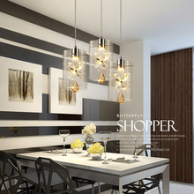 New nordic led pendant lights crystal + glass lamp contemporary 3 head pendant lighting simple lamp for bar dinging room AC220V(China)