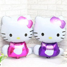 72*45cm Purple/Rose Hello Kitty Cat Foil Balloons Cartoon Birthday Wedding Decoration Globos Party Inflatable Air Ballons(China)
