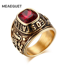 Meaeguet Vintage army rings Gold-Color Ring With CZ Stone Stainless Steel Eagle Pattern Ring For Male Jewelry(China)