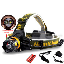 New Waterproof 2 LEB Bulbs Headlamp Powerful Headlight Camp Fishing Head Lamp Light Torch Lantern Hunt Riding Flashlight 18650