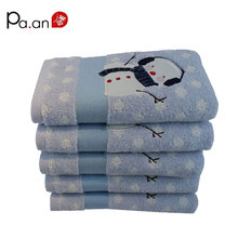 Christmas series 100% cotton towel Snowman pattern printing face hand christmas towel soft touch quick dry free shipping