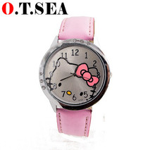 Hot sales fashion lovely hello kitty watch kids children women fashion quartz wrist watch Hours Reloj Mujer 8568