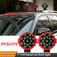Pair 7 Inch 51W LED Work Light High Power 17Leds x 3W Spot Flood Light For 4x4 Offroad Truck Tractor ATV SUV boat Marine lights(China)