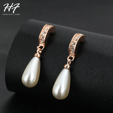 Top Quality Elanget Water Drop Imitation Pearl Rose Gold Color Earring Austrian Crystal Jewelry For Women Wholesale E446(China)