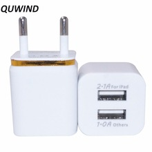 QUWIND 1A Dual USB Output Electronic Plating AC Charger Adapter EU Standard for iPhone 6 6s Samsung S6 S7(China)
