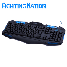 Fighting Nation Russian backlit gaming keyboard russia layout version computer laptop wired USB red blue led backlight gamer