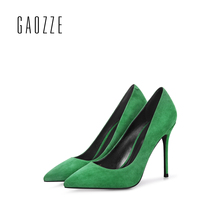 GAOZZE Green Sheep suede high heels pump shoes fashion pointed toe high heel pumps for women 10CM party shoes 2017 autumn(China)