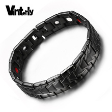 Vinterly Magnetic Bracelet for Men Black Health Energy Bio Magnet Therapy Germanium Stainless Steel Bracelets Bangle Men Jewelry(China)