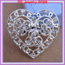 Free Shipping 120PCS/LOT Silver Tone Lovely Crystal Heart Brooch Pin/Wedding Invitation Pins/Brdial Bouquet