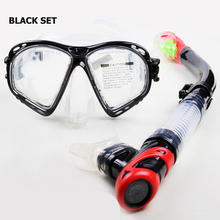 Newest clear silicone scuba diving set Myopia scuba diving mask and snorkel Dry snorkel gears Adult diving equipment snorkel gea