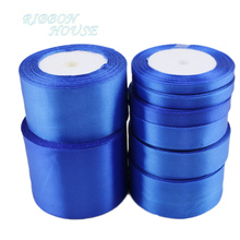 (25 yards/roll) Blue Single Face Satin Ribbon Wholesale Gift Wrapping Christmas ribbons(China)