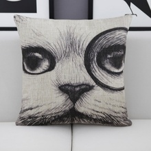 Black And White Cute Cat Face Throw Pillows Bowtie Dog Home Decoration Sofa Cushion Cotton Linen Nordic European Car Seat Pillow(China)