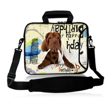 "Neoprene Messenger Satchel Bag10""13""14""15""17""Computer Kits Funny Brown Dog Type Laptop Baldric Shoulder Cover Pouch For  IBM HP"