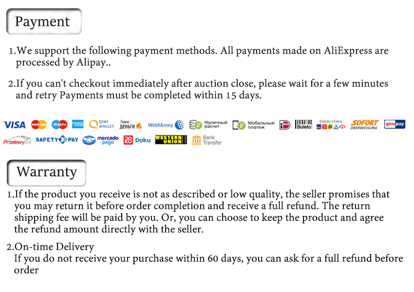 payment & warranty