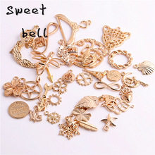 15-45pattern Mixed 100pcs Assorted Carved Charms Pendants Beads Metal Alloy Pandent Color gold  Diy Bead D0924