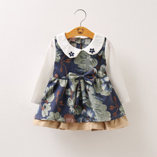 BibiCola 2017 Spring Baby Dresses Girls Toddler Flower Long Sleeves baby Print Girl Party Dress  Kids Girls Clothes