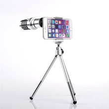 Mobile Phone Lens 12X Zoom Telescope Camera Telephoto Lenses With Tripod Aluminum for iphone6 7 plus universal for samsung LG