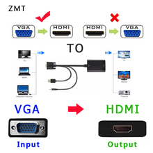 VGA to HDMI Converter Adapter Output 1080P HD with Audio VGA2HDMI TV AV to HDTV Video Cable Converter Adapter for TV PC